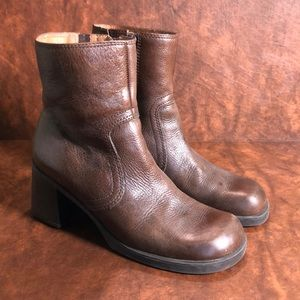 HOKUS POKUS Brown Leather Ankle Boot